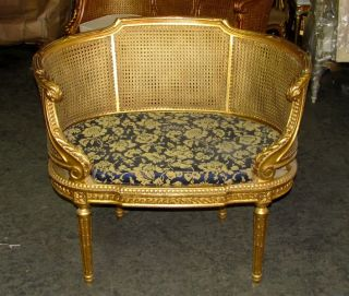 French Louis Xvi Caned Cane Corbeille Settee Chair photo