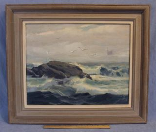 Vintage Orig Walter Bollendonk Rockport Ocean Seascape Oil Painting Nr photo