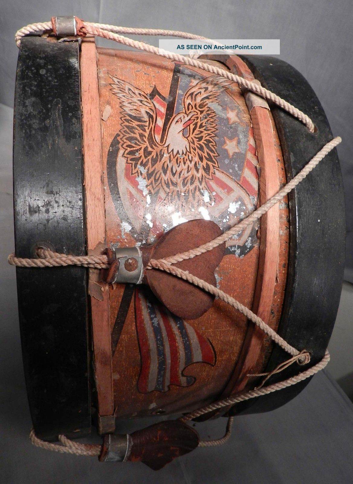 Antique Tin Wood Snare Drum American Eagle Painted Lithograph 1800s Percussion photo
