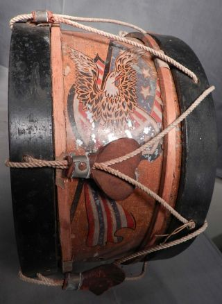 Antique Tin Wood Snare Drum American Eagle Painted Lithograph 1800s photo