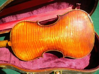 Old German Violin Branded Adolf Seidel 4/4 Highly Flamed Maple Back&sides C.  1920 photo