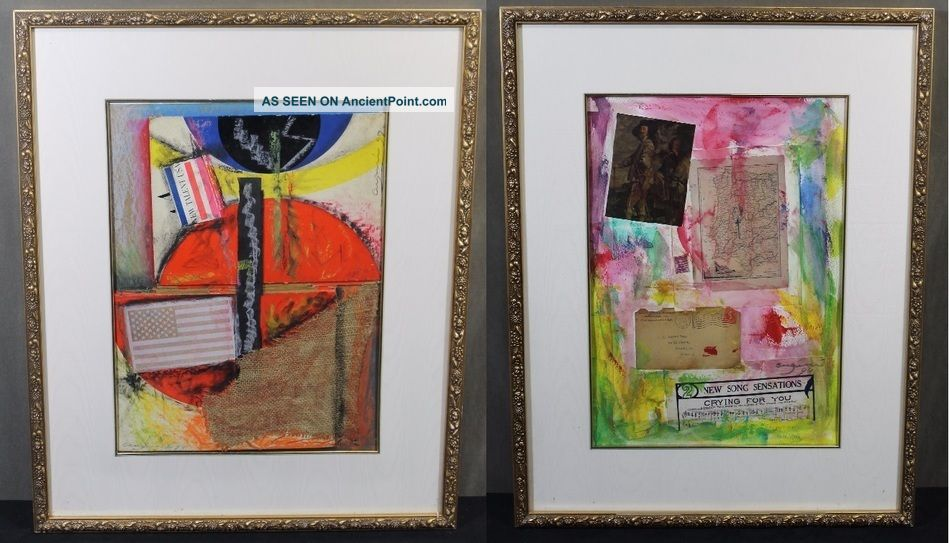2 Signed Vintage Modernist Cugini Abstract Paintings W/ Silk Mattes Nr Other photo