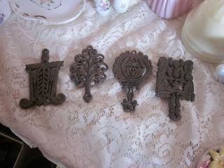 Antique Cast Iron Decorative Trivets Set 4 Wilton Small Trivets photo