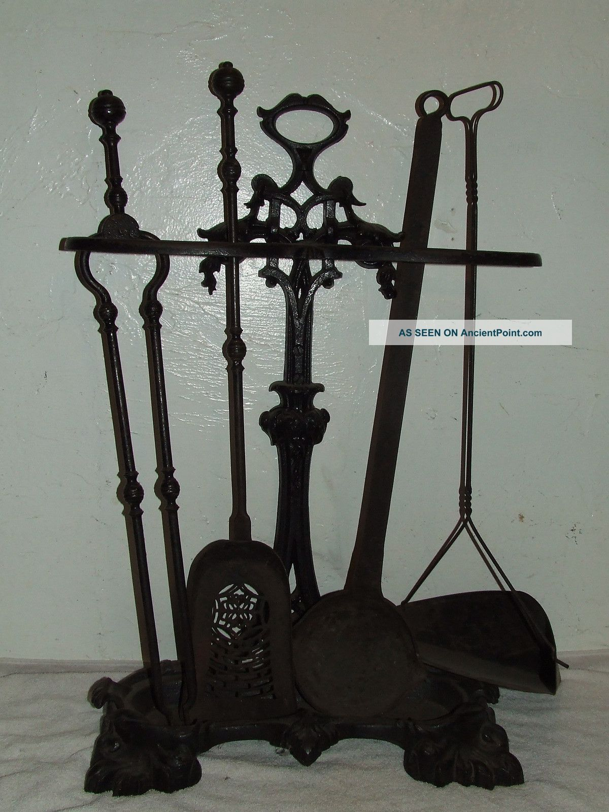 Antique 19th C.  Victorian Cast Iron Fireplace Hearth Tool Set With Stand & Ladle Photos and Information in AncientPoint