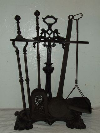 Antique 19th C.  Victorian Cast Iron Fireplace Hearth Tool Set With Stand & Ladle photo