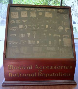 Antique Old Beltone Music Instrument Parts General Store Display Cabinet Violin photo