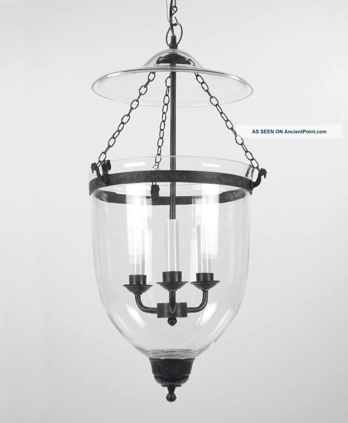 Bell Jar Light Chandelier Pendant Lantern Glass Colonial Old