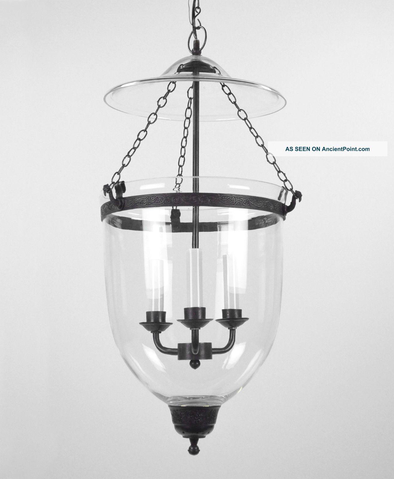 Large bell jar light chandelier pendant lantern glass colonial old large bell jar light chandelier pendant lantern glass colonial old antique style aloadofball Choice Image