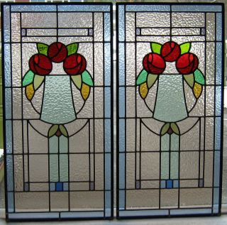 Artwork Panel Set - Mackintosh Roses Lead Light Windows photo
