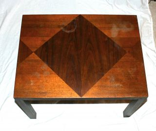 Vtg Lane Mid Century American Modern Parquet Inlaid Top Sofa Lamp End Table photo