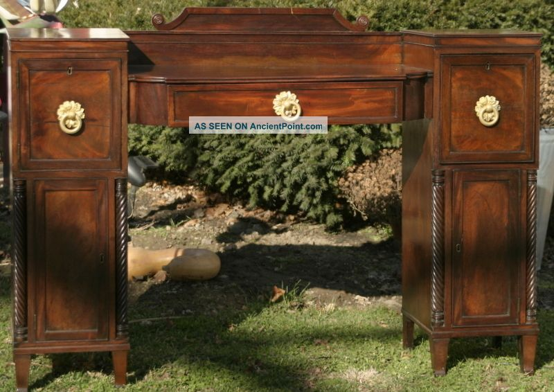 Antique English Mahogany Late Federal Period Sideboard With Unusual Hardware 1800-1899 photo