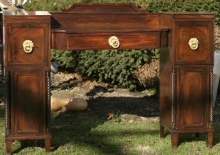 Antique English Mahogany Late Federal Period Sideboard With Unusual Hardware photo