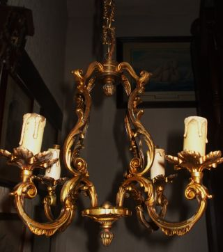 French Antique Ormolu Gilt Bronze 4 Arm Chandelier Ideal For Hallway photo