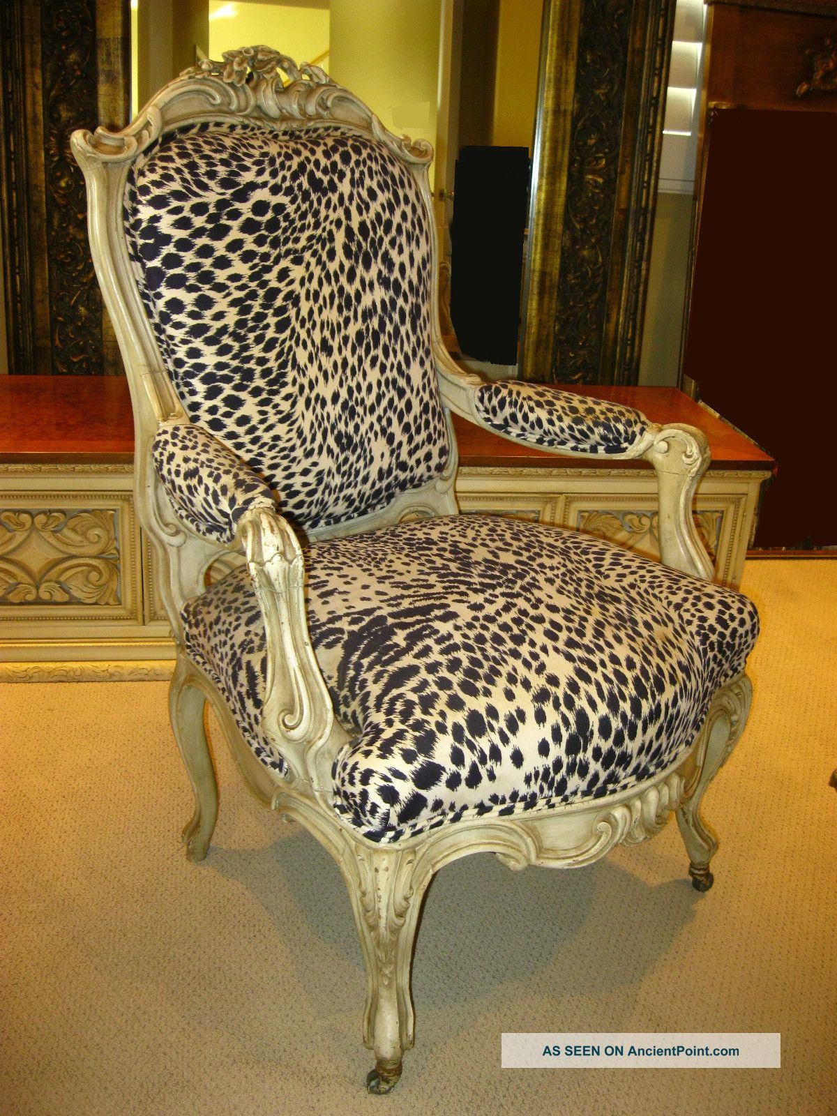 French Provincial Hollywood Regency White Leopard Print Accent Ornate Arm Chair Post-1950 photo