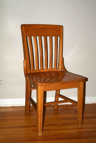 Vintage 1950s Solid Oak Chair,  Courtroom,  Home,  Office,  School Mid Century Jury photo
