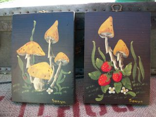 Of 2 Vintage Retro Tole Paintings Mushrooms & Strawberries Wall Hanging Wood photo