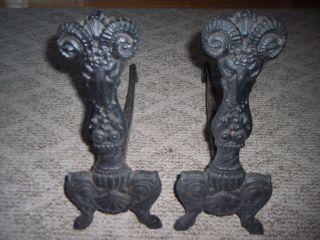 Vtg Ram/goat Head Cast Iron Andirons photo