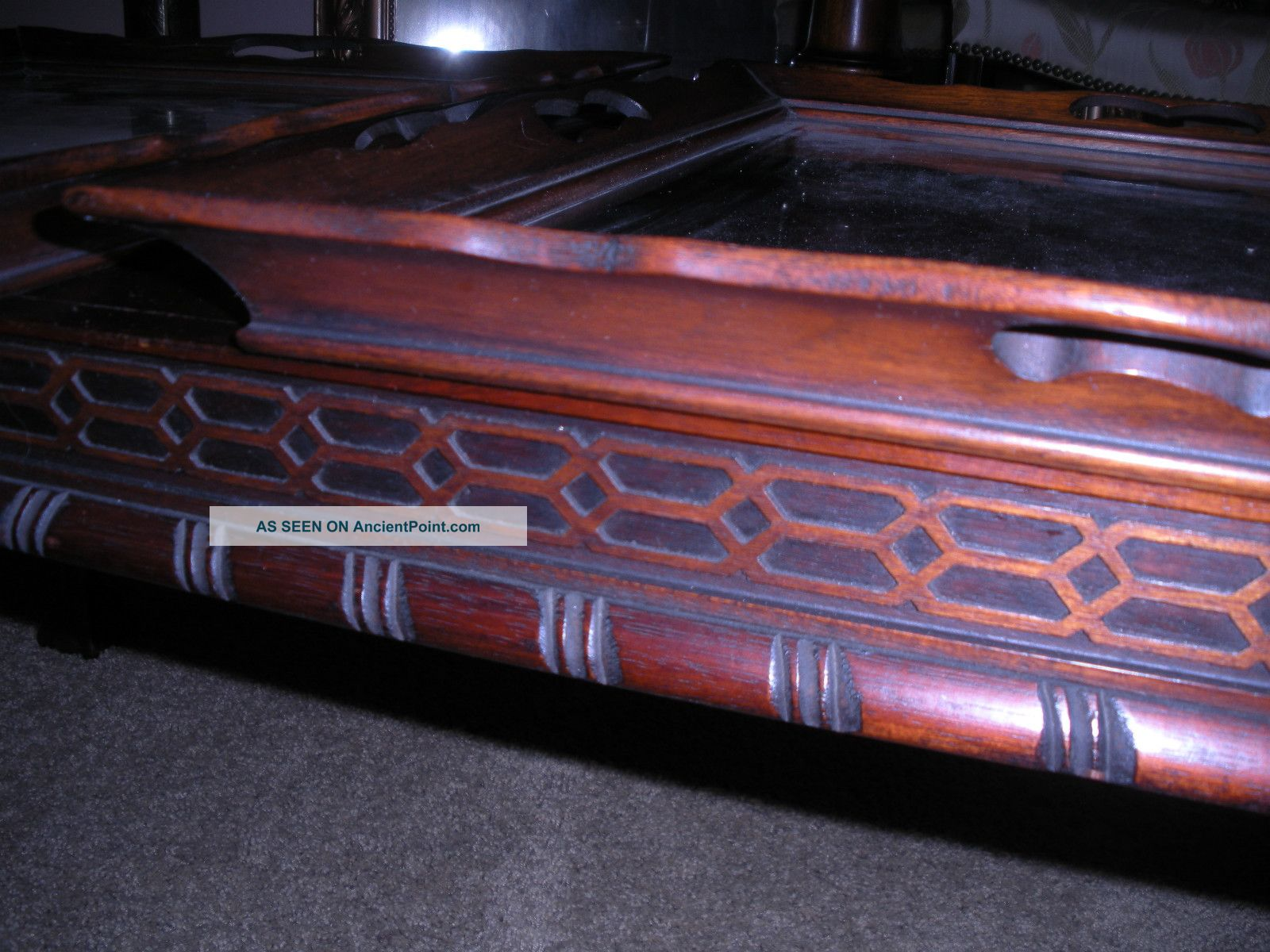 Beautiful Antique Mahogany Ball And Claw Talon Coffee Table W/ Tea Serving Trays  1600 x 1200 · 253 kB · jpeg