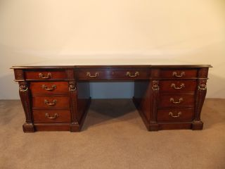 Massive Baker Furniture Company Stately Homes Wollaton Hall Pedestal Desk 5387 photo