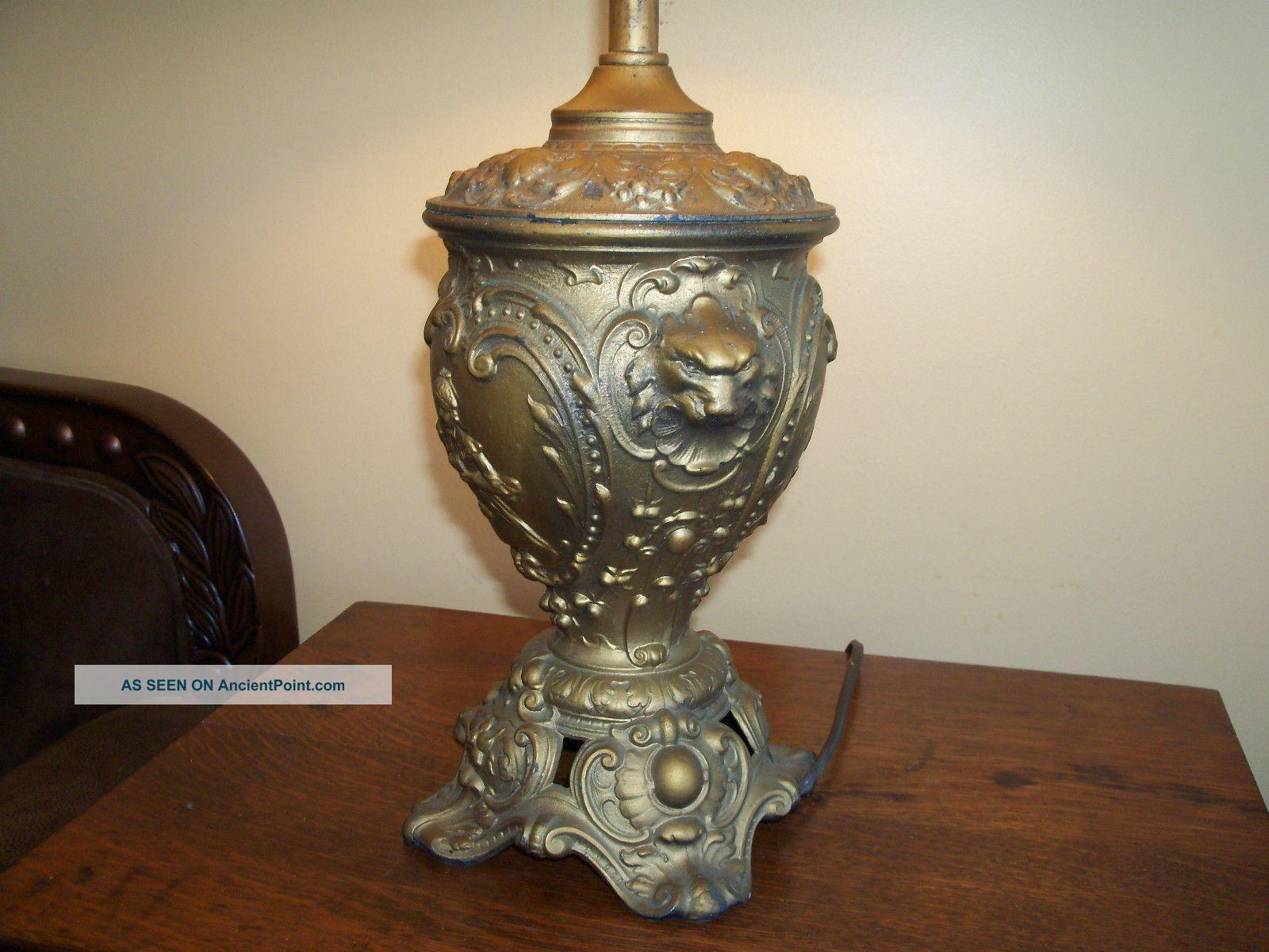 Antique Art Nouveau Lion Head Victorian Bronze Cast Table Lamp W