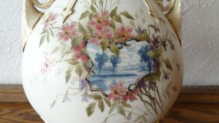 Rare Antique Royal Worcester Vase C1888 Flowers & River 13 - 1/2