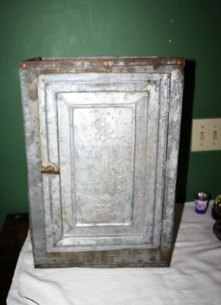 Rare Antique Vintage Galvanized Warming Oven Pie Safe With Flowers photo