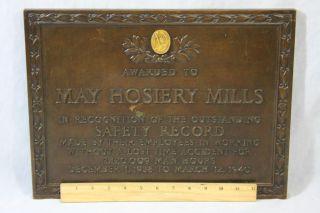 Antique Gorham Architectural Bronze Plaque Nashville May Hosiery Mills Sign photo
