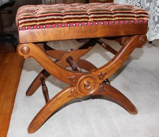 Antique Victorian Walnut Piano Foot Stool Bench Taboret Colapsible photo