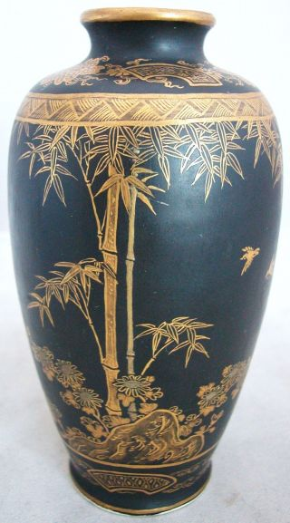 Signed Antique Meiji Japanese Black Bizan Kyoto Satsuma Vase (5