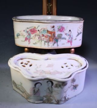 19th C.  Two Chinese Enameled Porcelain Cricket Cages, photo