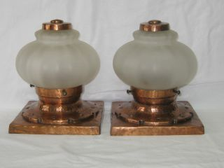 Antique Hammered Copper Ceiling Light Fixture Of 2 Fixtures New Wiring photo