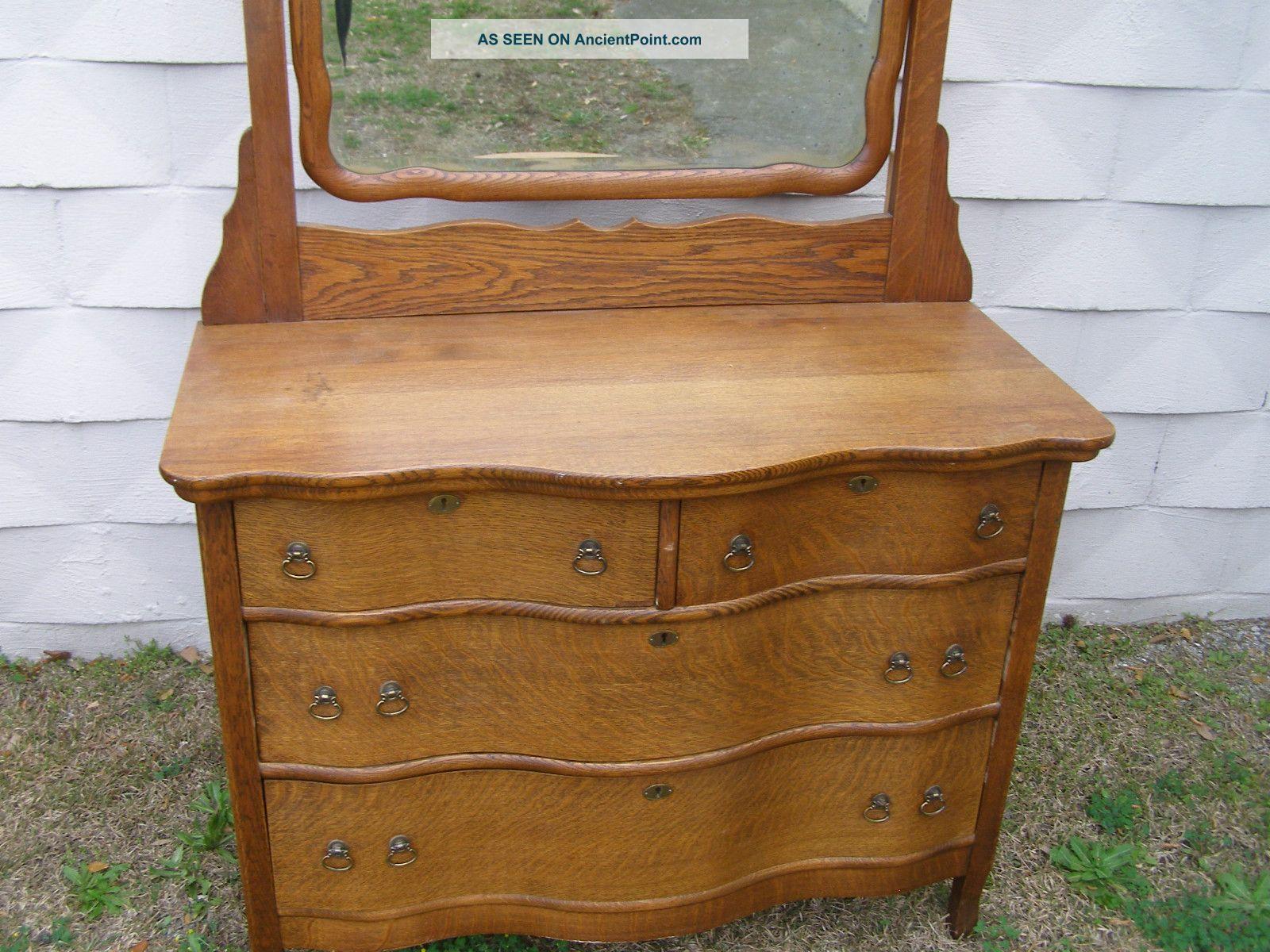 Late 19th C Antique Quartersawn Oak American Carved Dresser Chest