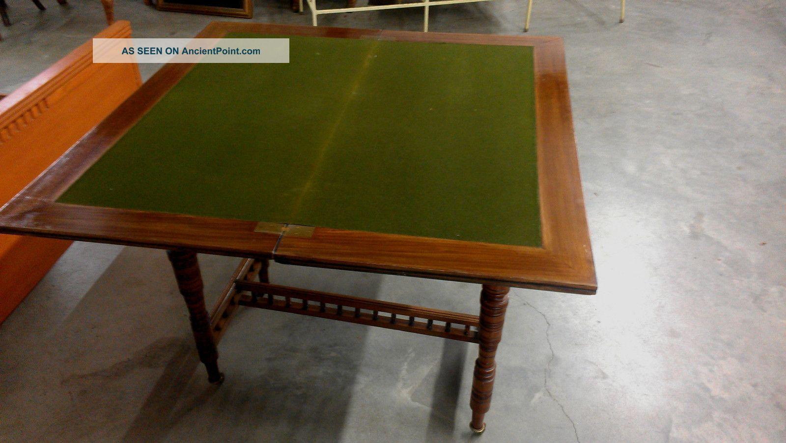 Antique Victorian Arts U0026 Crafts Game Table Carved Walnut Felt Top Uk Import