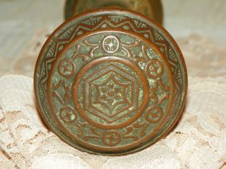 Antique Early 1900s Architectural Pair Bronze Door Knobs Collectible Home Decor photo
