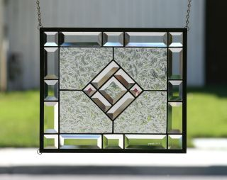 Starshine Clear Stained Glass Window Panel With Faceted Bevels photo