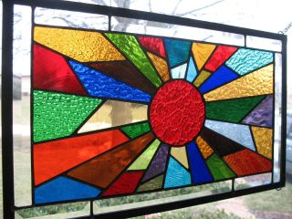 Sunburst 37 Color Stained Glass Window Panel Sampler Nr photo