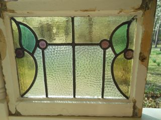 B415 Very Pretty Multi - Color English Leaded Stained Glass Window 7 Available photo
