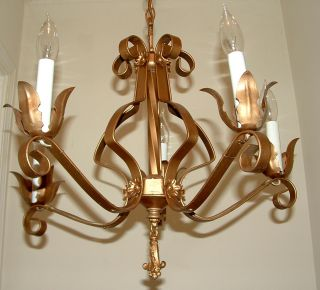 Wrought Iron Acanthus Leaf / Flower Motifs Chandelier Light Fixture photo