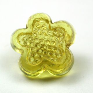Antique Charmstring Glass Button Lemon Flower Mold Swirl Back photo