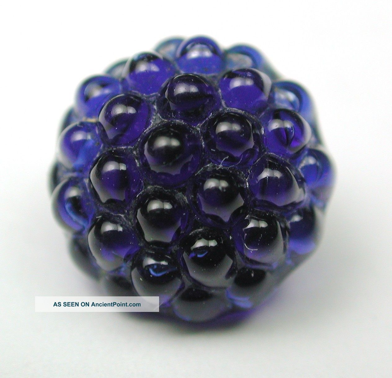 Antique Charmstring Glass Button Cobalt Blue Berry Top Swirl Back Buttons photo