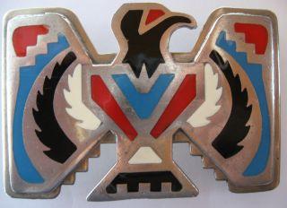 Vintage Tex Tan Enamel & Nickel Silver Eagle Belt Buckle photo