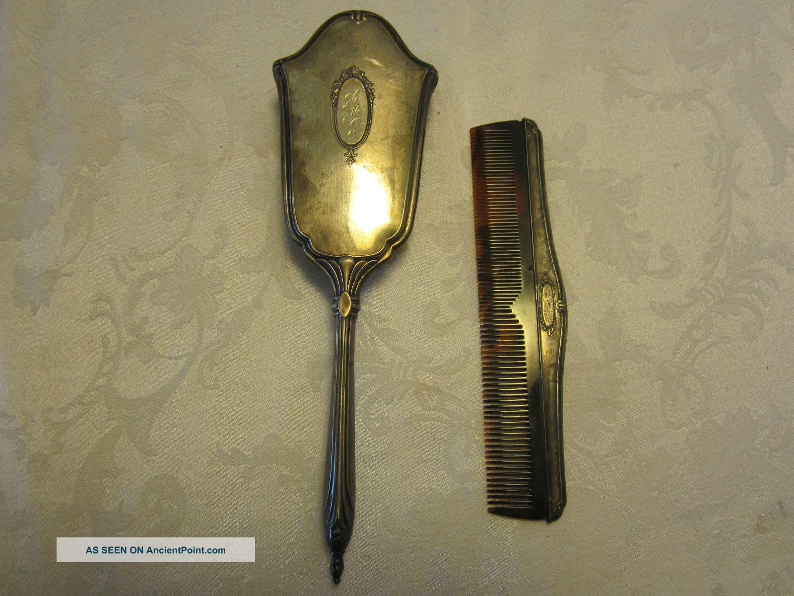 Antique Brush Comb Vanity Set Webster.  925 Sterling Silver Monogrammed Brushes & Grooming Sets photo