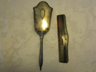 Antique Brush Comb Vanity Set Webster.  925 Sterling Silver Monogrammed photo
