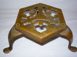 Vintage Brass Queen Anne Leg Fireplace Trivet Or Hearth Stand photo
