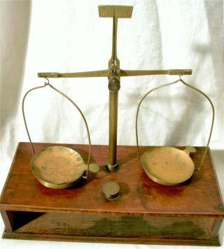 Vintage Antique Brass Balance Scale Wooden Drawer Case Wood Box Jeweler Pharmacy photo