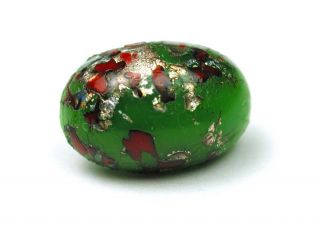 Antique Leo Popper Glass Button Green Red & Silver Oval photo