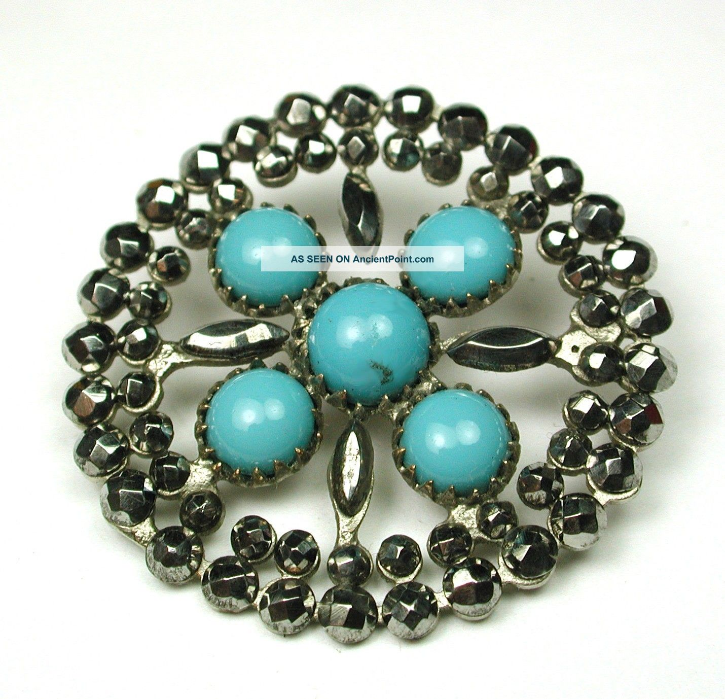 Antique Pierced Metal Button Turquoise W/ Cut Steel Accents & Border Buttons photo
