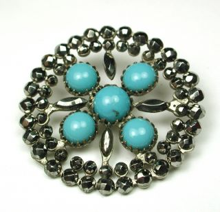 Antique Pierced Metal Button Turquoise W/ Cut Steel Accents & Border photo
