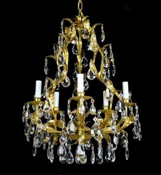 Antique Crystal Pendant Chandelier Vintage Gold Leaf Gilt Gilded Restored Tole photo