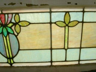 Sweet & Fine Antique Arts & Crafts Stained Glass Transom Window Indy Estate 105 photo